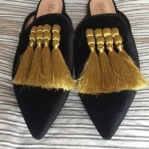 Mavirs Shoes - Mavirs Black Velvet Gold Tassel Mules 12